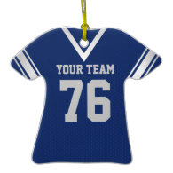 Football Jersey Blue and Silver with Photo Christmas Ornament