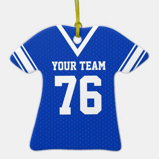 Football Jersey Blue And White Double Sided T Shirt Ceramic Christmas