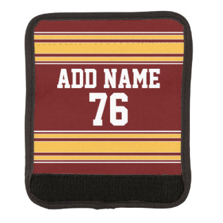 Football Jersey - Custom Name Number Maroon Gold Luggage Handle Wrap