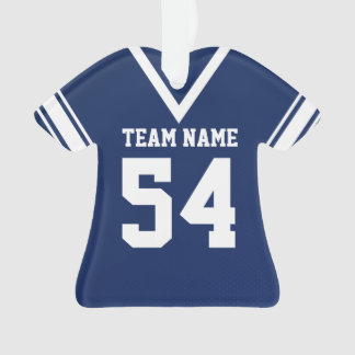 Football Jersey Dark Blue Uniform with Photo Ornament