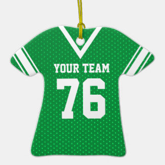Football Jersey Green and White Ornaments