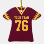 Football Jersey Maroon and Gold Christmas Ornament