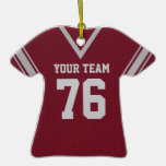 Football Jersey Maroon and Grey Christmas Ornament
