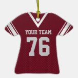 Football Jersey Maroon and Silver Christmas Tree Ornament