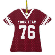 Football Jersey Maroon and White with Photo Ornaments