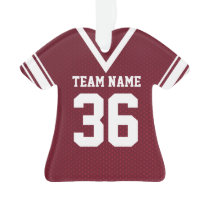 Football Jersey Maroon Uniform with Photo Ornament