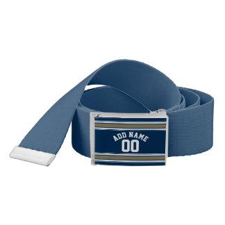Football Jersey Navy Blue Gold Stripes Name Number Belt