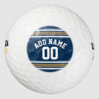 Football Jersey Navy Blue Gold Stripes Name Number Golf Balls