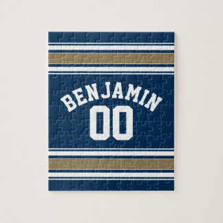 Football Jersey Navy Blue Gold Stripes Name Number Jigsaw Puzzle