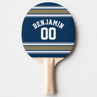Football Jersey Navy Blue Gold Stripes Name Number Ping Pong Paddle