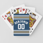 "Football Jersey Navy Blue Gold Stripes Name Number Playing Cards<br><div class=""desc"">This sporty design is perfect for any athlete playing football,  soccer or baseball. You change the numbers to your lucky number or even a special age for a birthday celebration.</div>"
