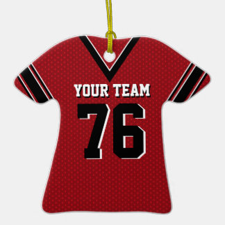 Football Jersey Red and Black Christmas Ornaments