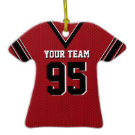 Football Jersey Red and Black Ornaments