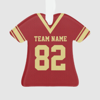 Football Jersey Red Gold Uniform with Photo Ornament