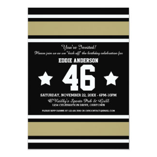 Football Jersey Stripes Birthday Party 5x7 Paper Invitation Card