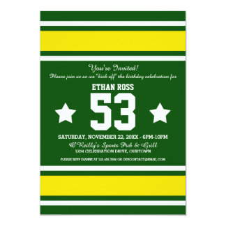 Football Jersey Stripes Birthday Party 5x7 Paper Invitation Card