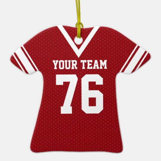 Football Jersey White Red Ceramic Ornament