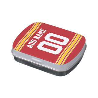 Football Jersey with Custom Name and Number Jelly Belly Candy Tin