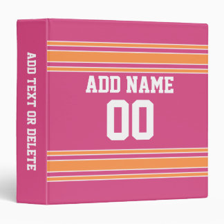 Football Jersey with Custom Name Number 3 Ring Binder