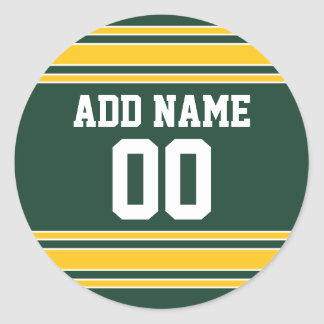 Football Jersey with Custom Name Number Classic Round Sticker