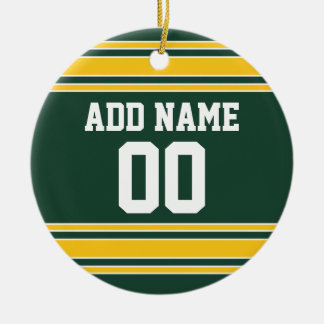 Football Jersey with Custom Name Number Double-Sided Ceramic Round Christmas Ornament