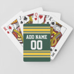 "Football Jersey with Custom Name Number Playing Cards<br><div class=""desc"">Add your favorite name and number -- This olive and gold sports design is perfect for any professional,  college or high school fan. You can even claim these for your Fantasy Football team. Click on the CUSTOMIZE button to make even more changes.</div>"