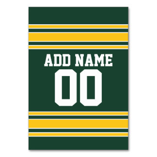 Football Jersey with Custom Name Number Table Cards