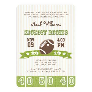 FOOTBALL KICKOFF ANY AGE BIRTHDAY 5X7 PAPER INVITATION CARD