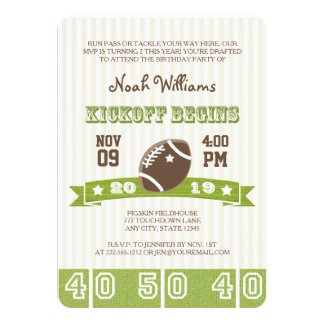 FOOTBALL KICKOFF ANY AGE BIRTHDAY 5X7 PAPER INVITATION CARD