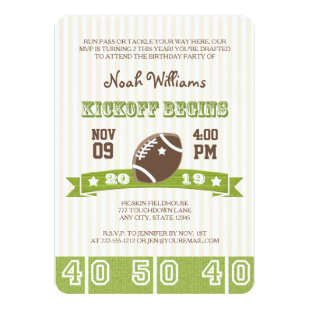 FOOTBALL KICKOFF ANY AGE BIRTHDAY INVITATION