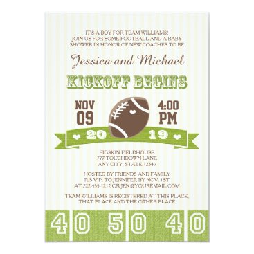 Toddler & Baby themed FOOTBALL KICKOFF COUPLES BABY SHOWER CARD