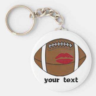 football kiss basic round button keychain