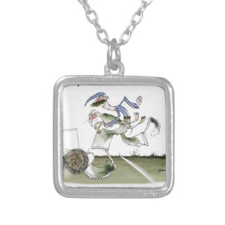 football left wing, blue white kit silver plated necklace