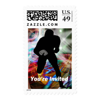 Football Lights You're Invited Postage Stamp