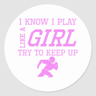 Football Like A Girl Round Stickers