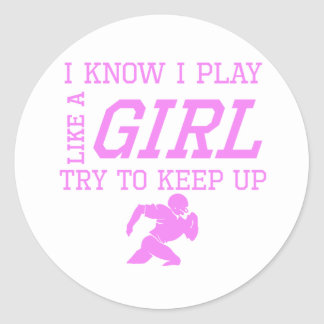 Football Like A Girl Round Sticker