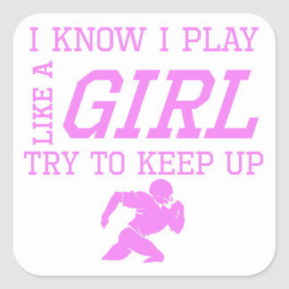 Football Like A Girl Square Sticker