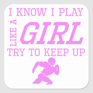 Football Like A Girl Square Stickers