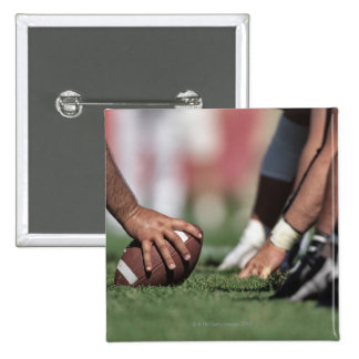 Football line of scrimmage pinback button