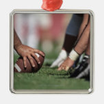 Football line of scrimmage square metal christmas ornament