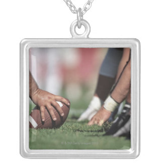 Football line of scrimmage square pendant necklace