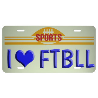 Football Love License License Plate