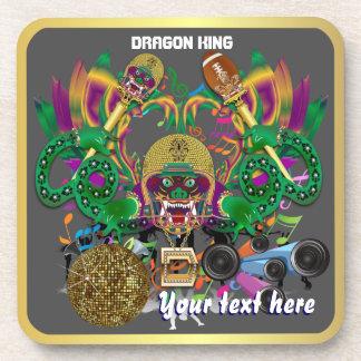 Football Mardi Gras Dragon King view notes Please Beverage Coaster