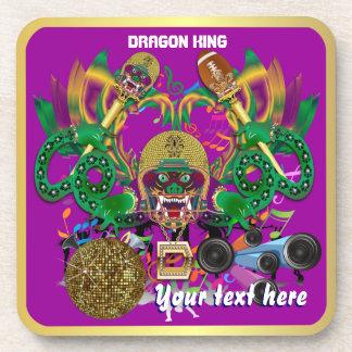 Football Mardi Gras Dragon King view notes Please Coaster