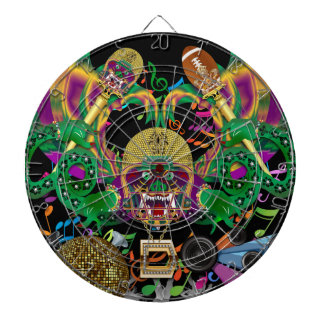 Football Mardi Gras Dragon King view notes Please Dartboard With Darts