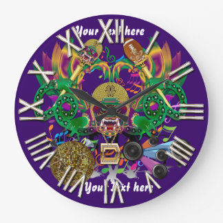 Football Mardi Gras Dragon King view notes Please Large Clock