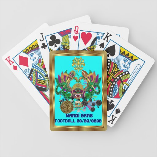 Football Mardi Gras Dragon King view notes Please Playing Cards