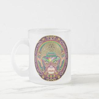 Football Mardi Gras Quarterback view notes Please Frosted Glass Coffee Mug