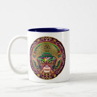 Football Mardi Gras Quarterback view notes Please Two-Tone Coffee Mug