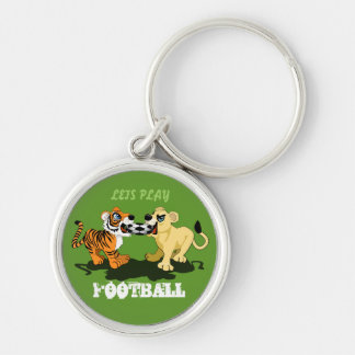 Football match between tiger and lion Silver-Colored round keychain